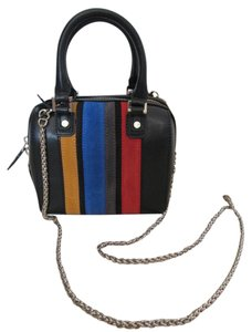 Alice + Olivia + Black Leather Suede Chain Cross Body Bag