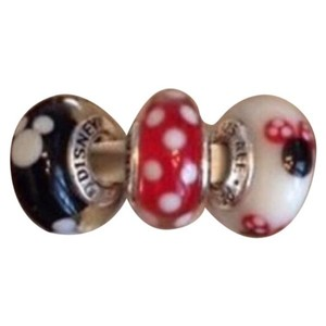 PANDORA Disney Minnie & Mickey Mouse Murano Set of 3 Charms
