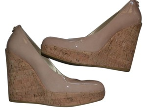 Stuart Weitzman Cork Size 8.5 nude patent leather Wedges