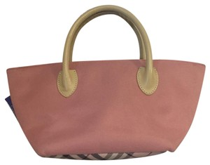 Burberry Blue Label Tote in pink with kaki handles, plaid pattern
