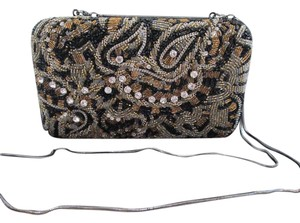 Alice + Olivia + Beaded Embroidered Chain Brown & Black Clutch