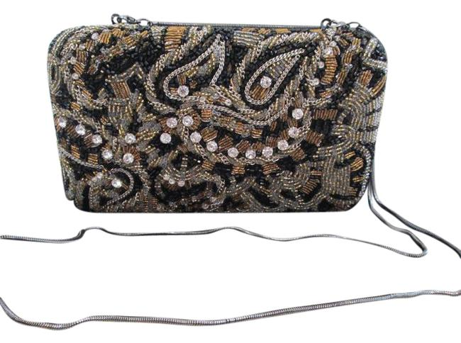 Item - Embroidered Hard Shell Convertible Brown & Black Beaded Clutch