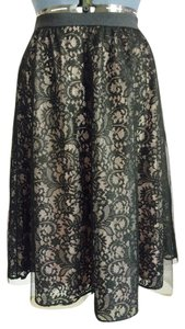 Express Tulle Lace Floral Skirt Black, Beige