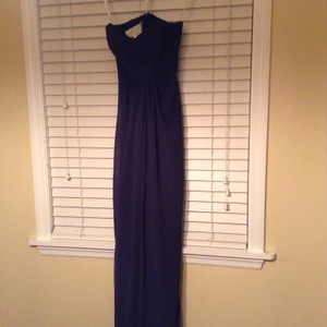 David's Bridal Navy David's Bridal Strapless Chiffon Dress And Pleated Bodice Dress