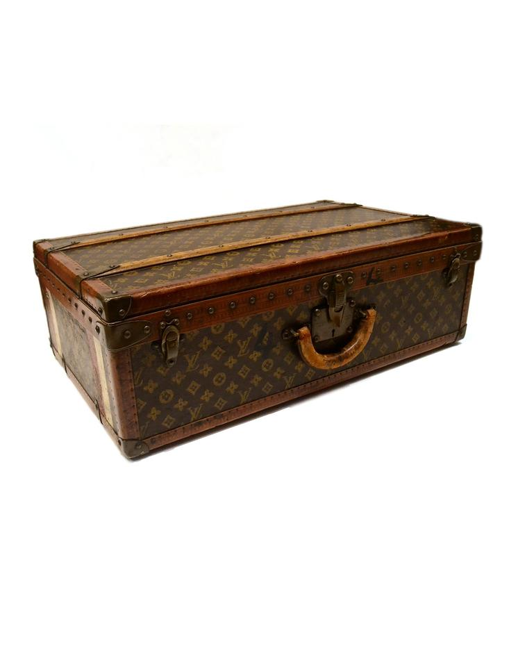 louis vuitton brown and tan monogram vintage hard suitcase trunk tradesy. Black Bedroom Furniture Sets. Home Design Ideas