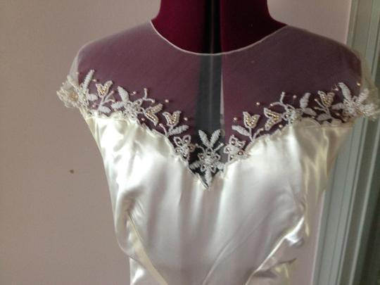 Ivory/Gold Satin From 40's Or 50's Vintage Wedding Dress Size 6 (S) Image 1