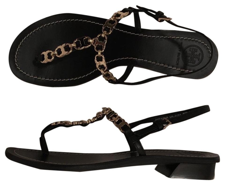 9b0eb72afc24 Tory Burch Black Gold Gemini Link T New Leather Strap Sandals Size ...