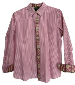 C. Wonder Top Pink and white stripe and contrast pattern on placket and cuff
