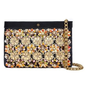 Tory Burch Embellished Floral Metallic Beaded Sequin Black Clutch