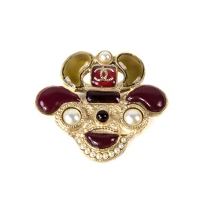Chanel PUPPY DOG PEARL PIN - 2016 - NEW BROOCH EMOJI GRIPOIX CC RED ROBOT 16K