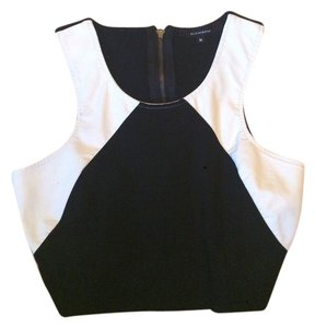 Olivaceous Leather Crop Top Black and White