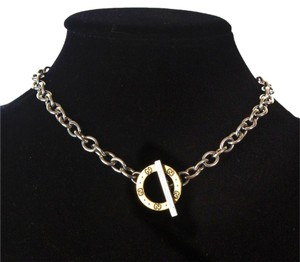 Gucci 18K GOLD CIRCLE NECKLACE - STERLING SILVER CHAIN GG MONOGRAM ICON