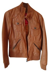 Esprit Cognac Elbow Patch Leather BLACK Leather Jacket