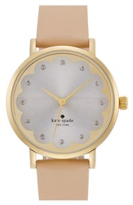 Kate Spade Kate Spade New York 'metro' scallop dial leather strap watch