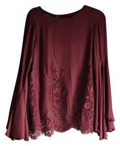 The Jetset Diaries Lace Trim Lace Cut-out Top Burgundy