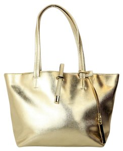 Vince Camuto Leather Tote in Gold