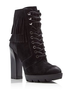 Kenneth Cole Combat Leather Fringe Black Boots