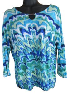 Chico's Abstract Spring Summer Knit Casual Top Multicolored