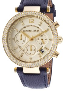 Michael Kors Women's Parker Chronograph Navy Genuine Leather Champagne Dial