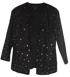 French Connection Embellished Edgy Evening Rocker Studded Black Blazer
