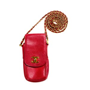 Chanel Caviar Leather Cell Phone Case Chain Gold Cross Body Bag