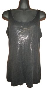Express Sequin Summer Casual Fitted Top Black
