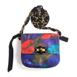 Lanvin Mini Happy Chain Floral Black Cross Body Bag