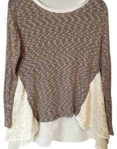 Anthropologie Top Brown and Cream