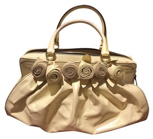 Valentino Vintage Patent Leather Satchel in Butter cream