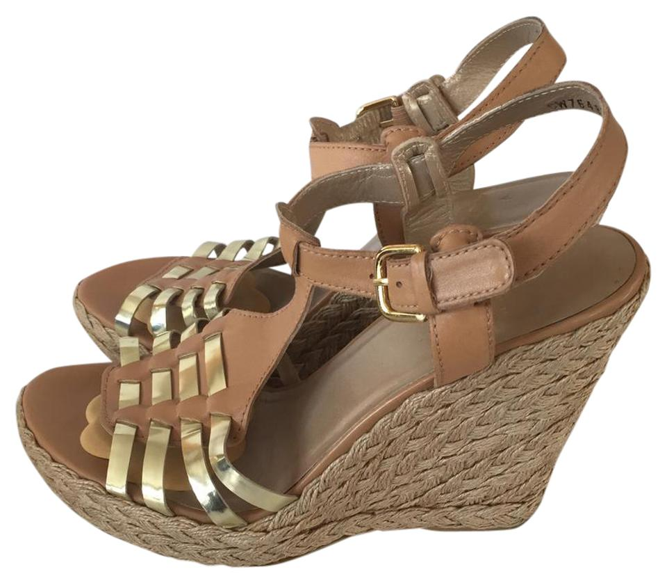 Stuart Weitzman Tan and Gold Sandals Quetta Wedge Sandals Gold b2412a