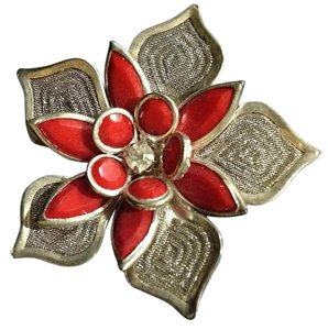 Other sterling and rhinestone poinsettia brooch