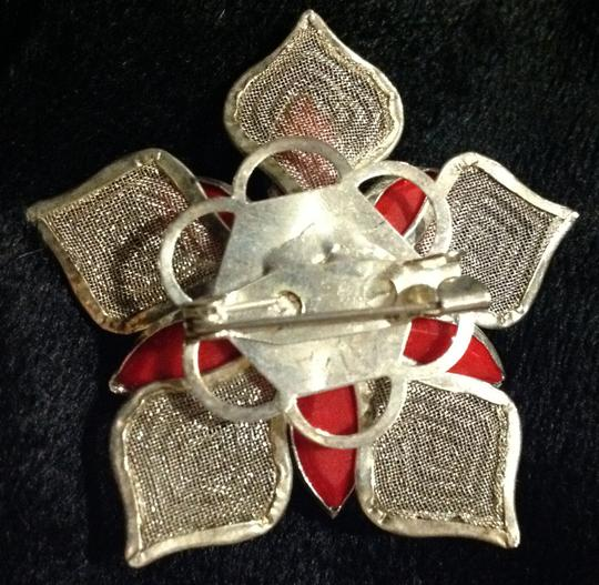 Other sterling and rhinestone poinsettia brooch Image 1