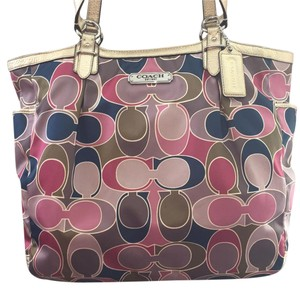 Coach Tote in Pink/Beige/Navy