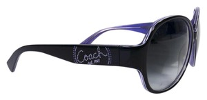 Coach S2030 Black & Purple Dotted Logo Sunglasses, Original Case & Dust Clot