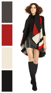 Alice + Olivia Wool Blanket Poncho Wrap Cape
