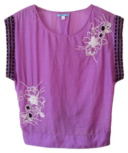 Anthropologie Back Tie Clsoure Cotton + Silk Back Slit Embroidered Beaded Top Purple
