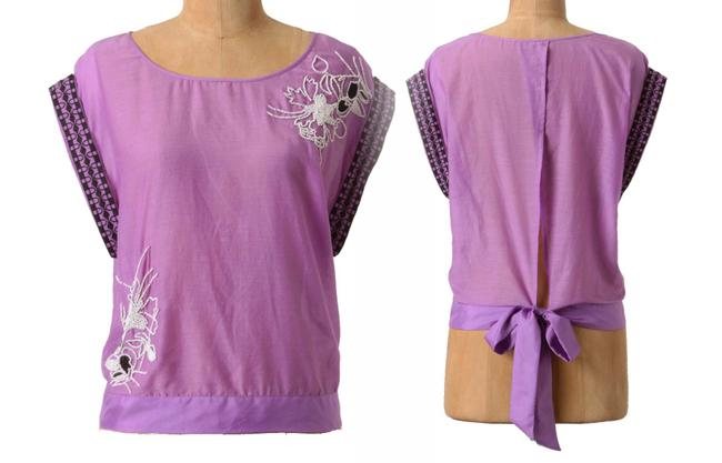 Anthropologie Back Tie Clsoure Cotton + Silk Back Slit Embroidered Beaded Top Purple Image 1