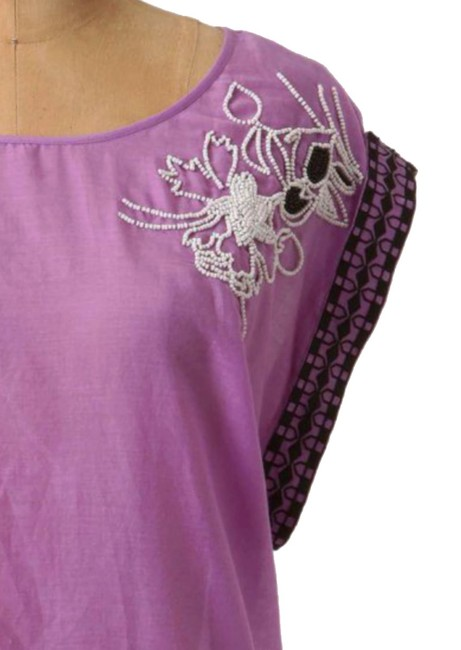 Anthropologie Back Tie Clsoure Cotton + Silk Back Slit Embroidered Beaded Top Purple Image 3