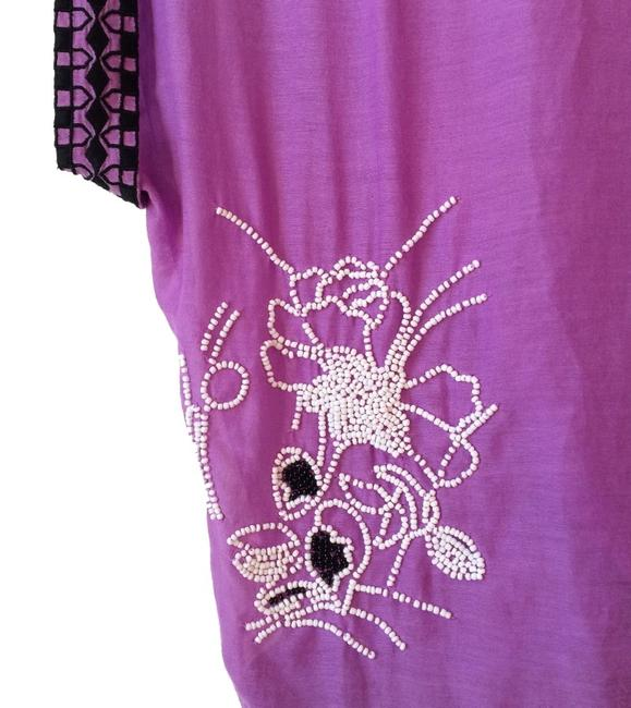 Anthropologie Back Tie Clsoure Cotton + Silk Back Slit Embroidered Beaded Top Purple Image 5