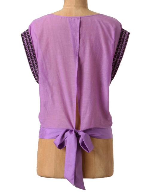 Anthropologie Back Tie Clsoure Cotton + Silk Back Slit Embroidered Beaded Top Purple Image 6