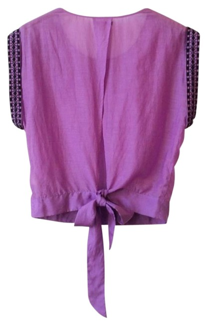 Anthropologie Back Tie Clsoure Cotton + Silk Back Slit Embroidered Beaded Top Purple Image 7