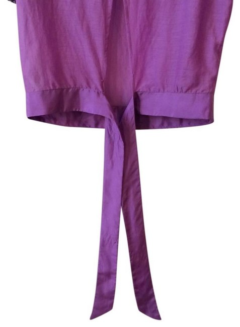 Anthropologie Back Tie Clsoure Cotton + Silk Back Slit Embroidered Beaded Top Purple Image 8