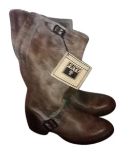 Frye Leather Slouch Gray Boots