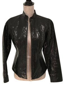 Chico's Alligator Embossed Leather Jacket