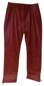 Donald J. Pliner Leather Lined J. Super Soft Leather Skinny Pants red