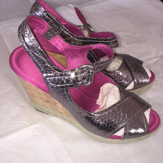 Apepazza Wedge Metallic Embossed Cork Like New Pewter Sandals Image 2