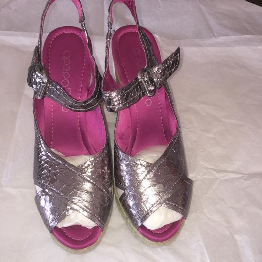 Apepazza Wedge Metallic Embossed Cork Like New Pewter Sandals Image 5