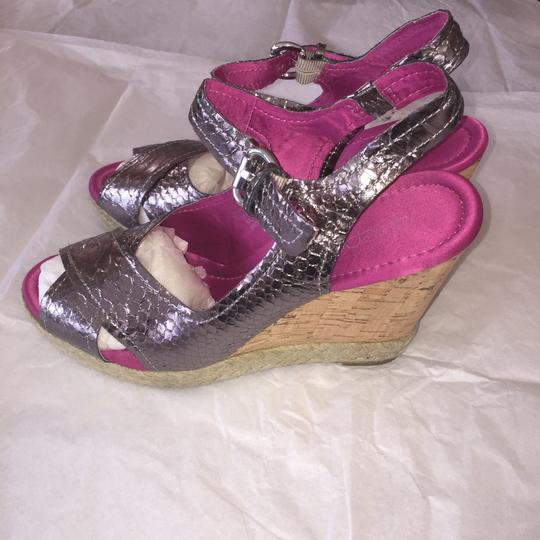 Apepazza Wedge Metallic Embossed Cork Like New Pewter Sandals Image 6