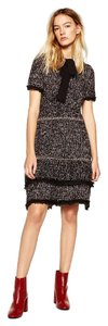 Zara Knit Bow Tweed Work Stretchy Dress
