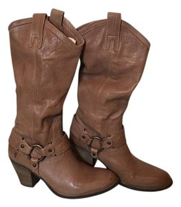 Frye Leather Heel Fawn Boots
